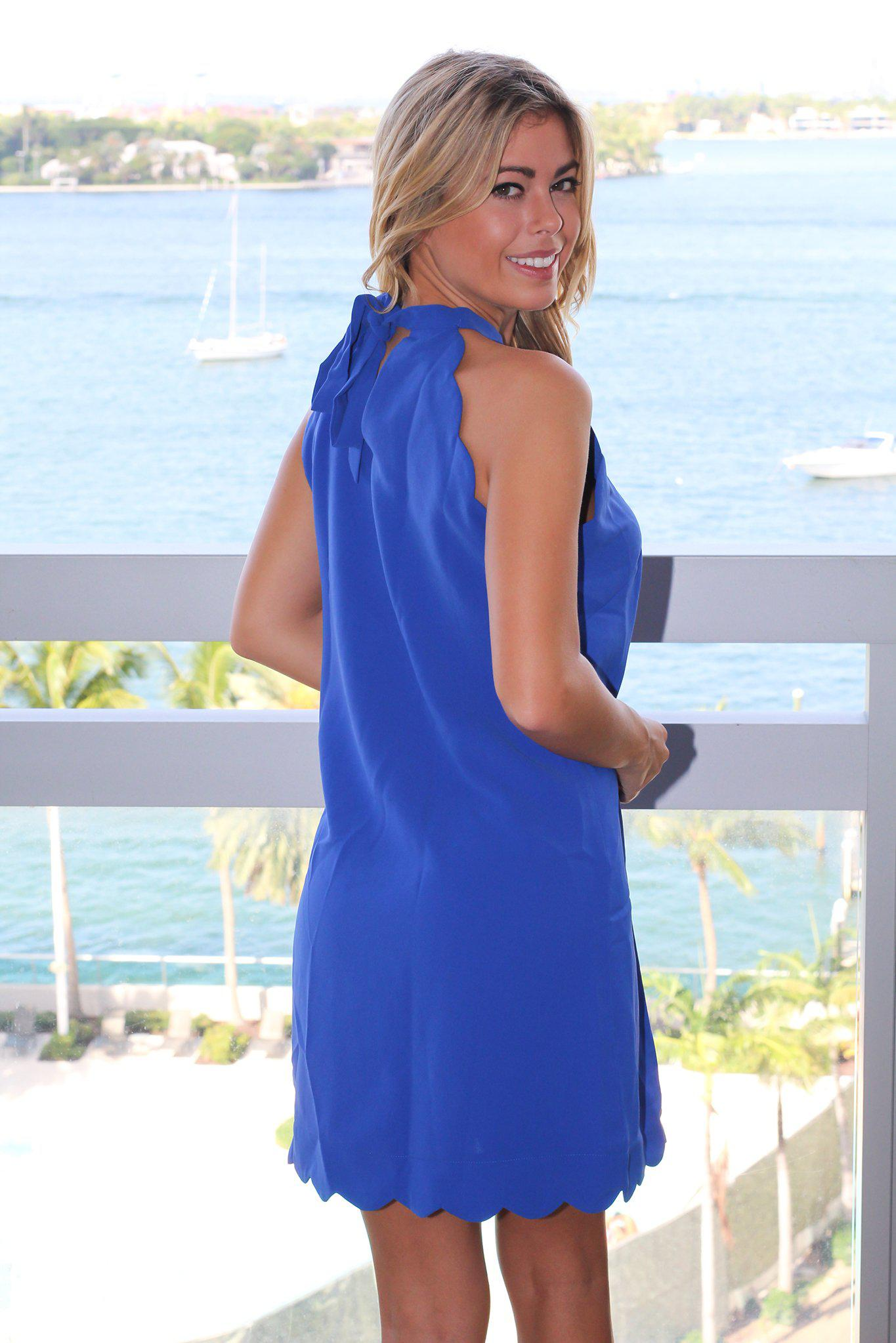 Cobalt Blue Scalloped Short Dress