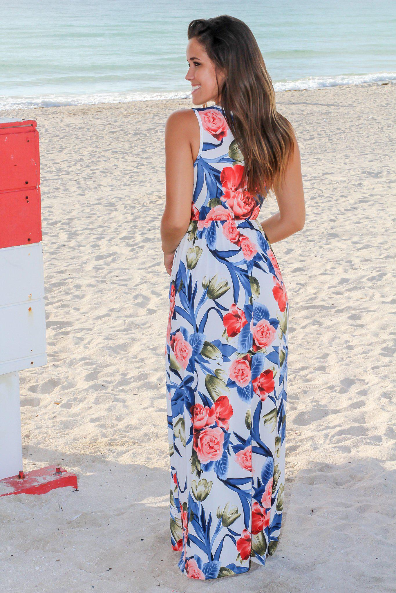 Cobalt and Rose Floral Maxi Dress