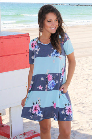 Mint Color Block Floral Swing Dress