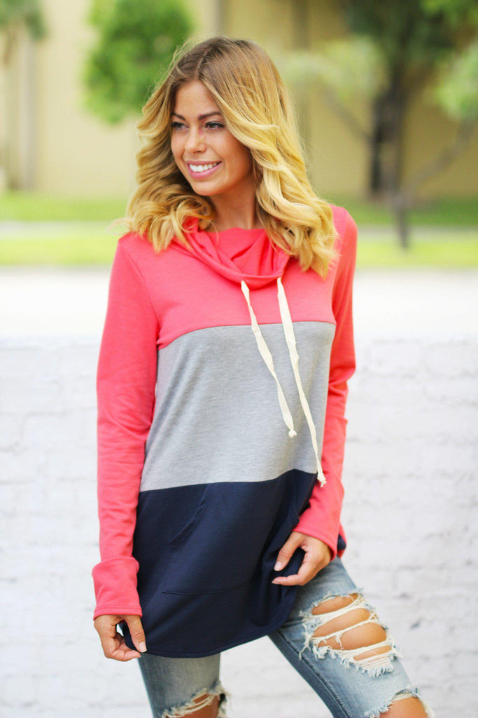 Coral Color Block Top with Pocket