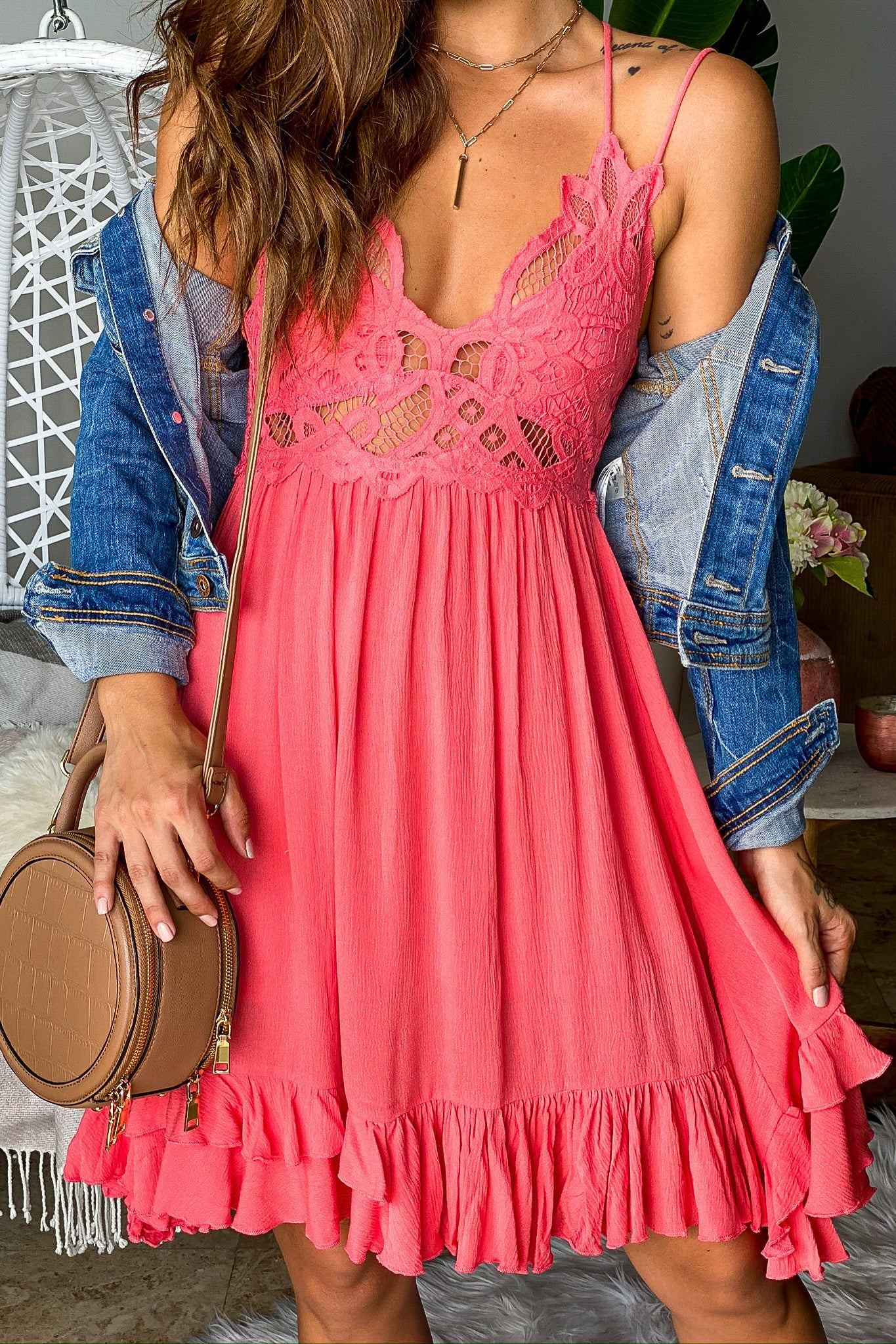 Coral Crochet Top Short Dress with Criss Cross Back