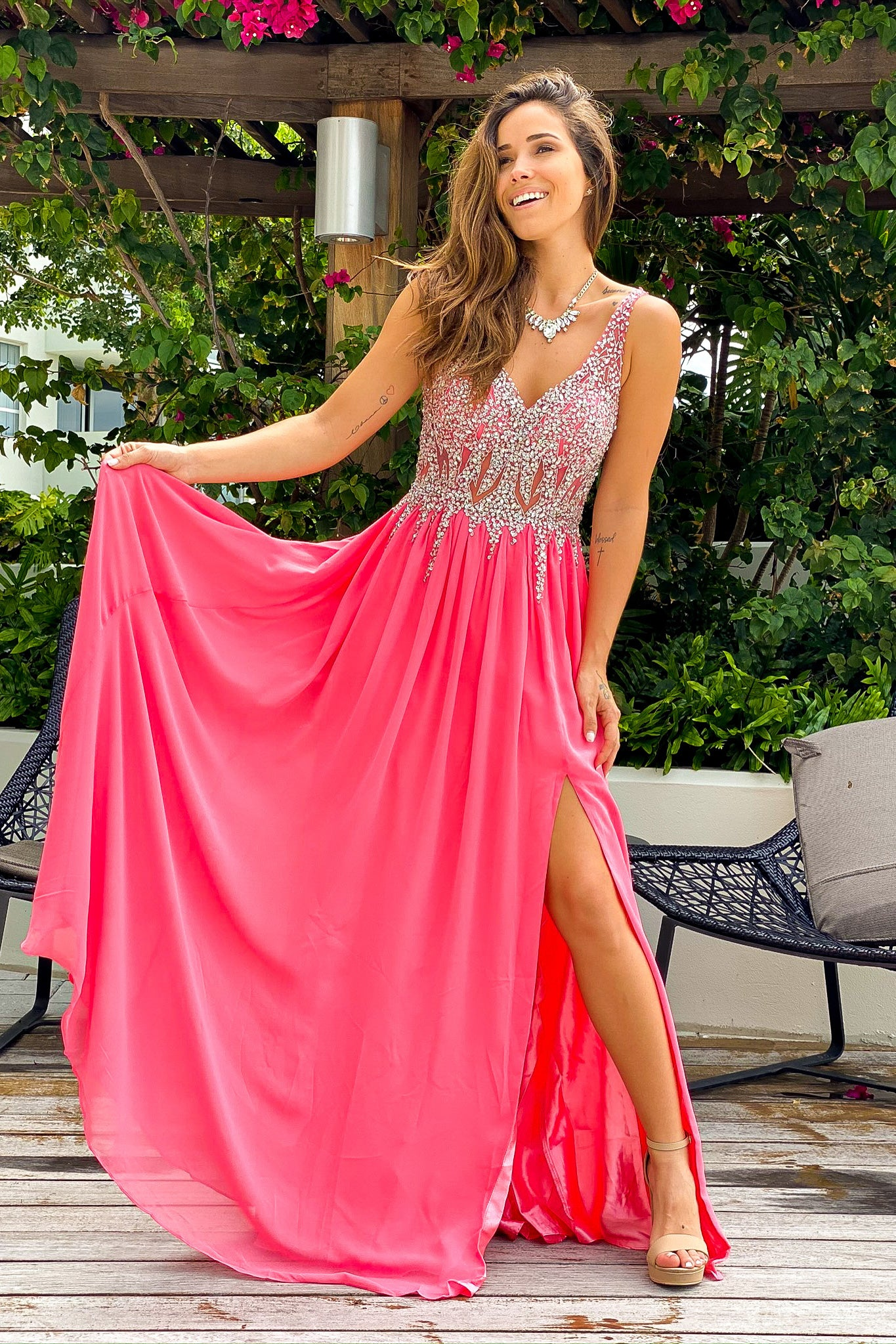 Coral Jeweled Top Maxi Dress with Side Slit