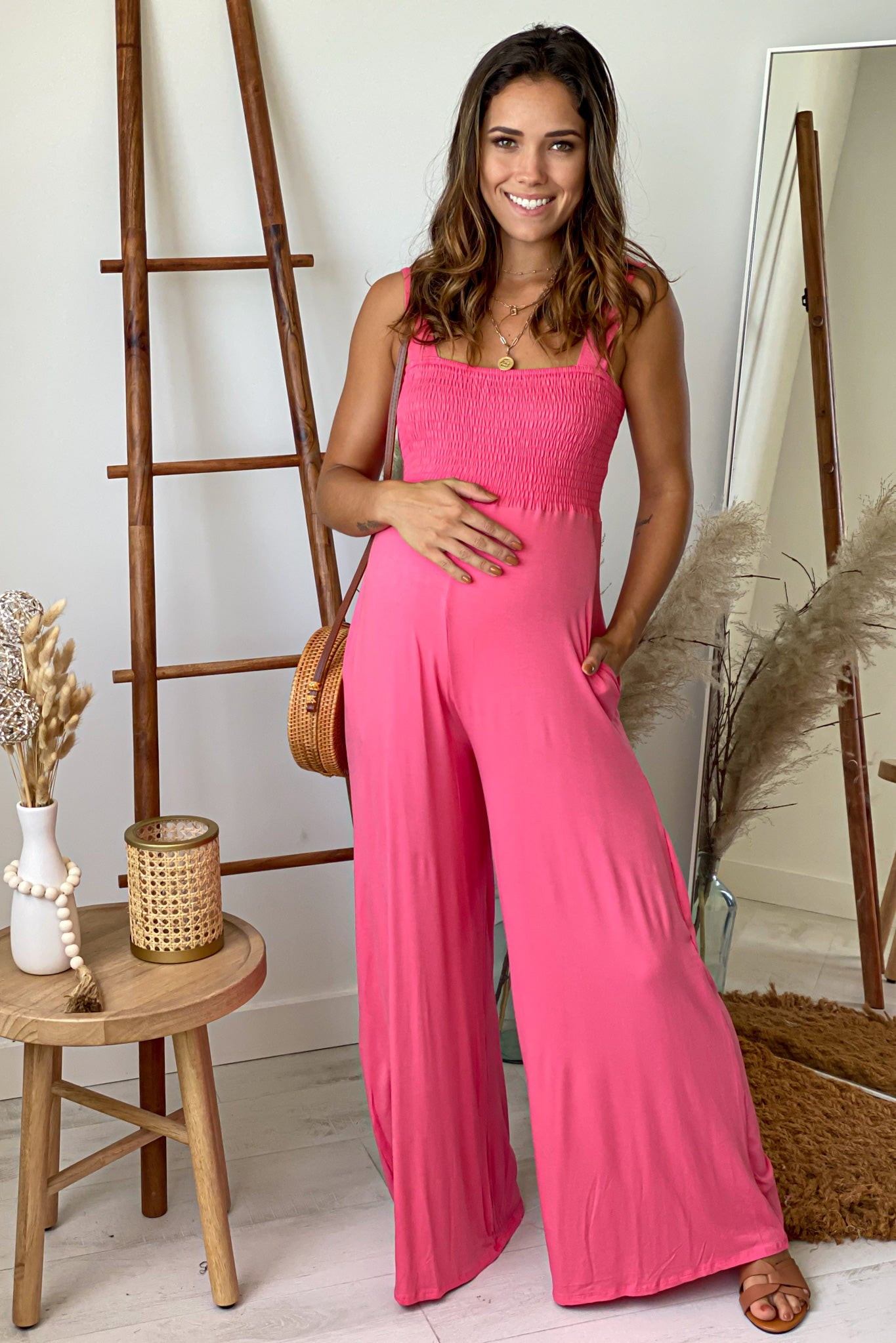 Coral Smocked Top Maternity Jumpsuit