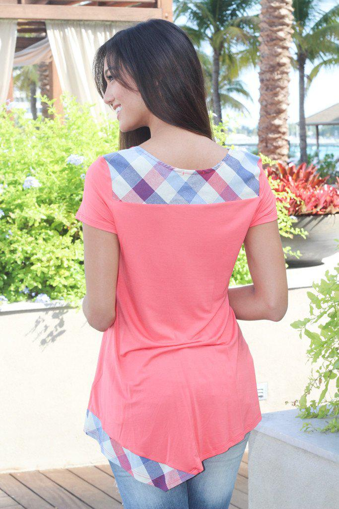 Coral And Plaid Asymmetrical Top