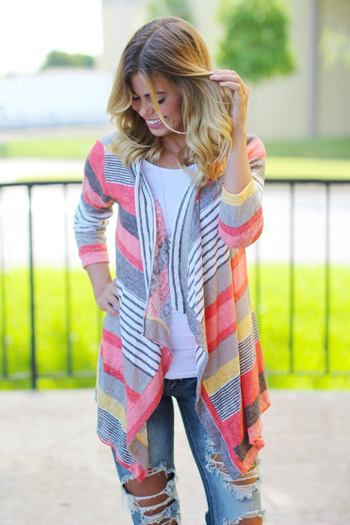 Coral and Yellow Cardigan