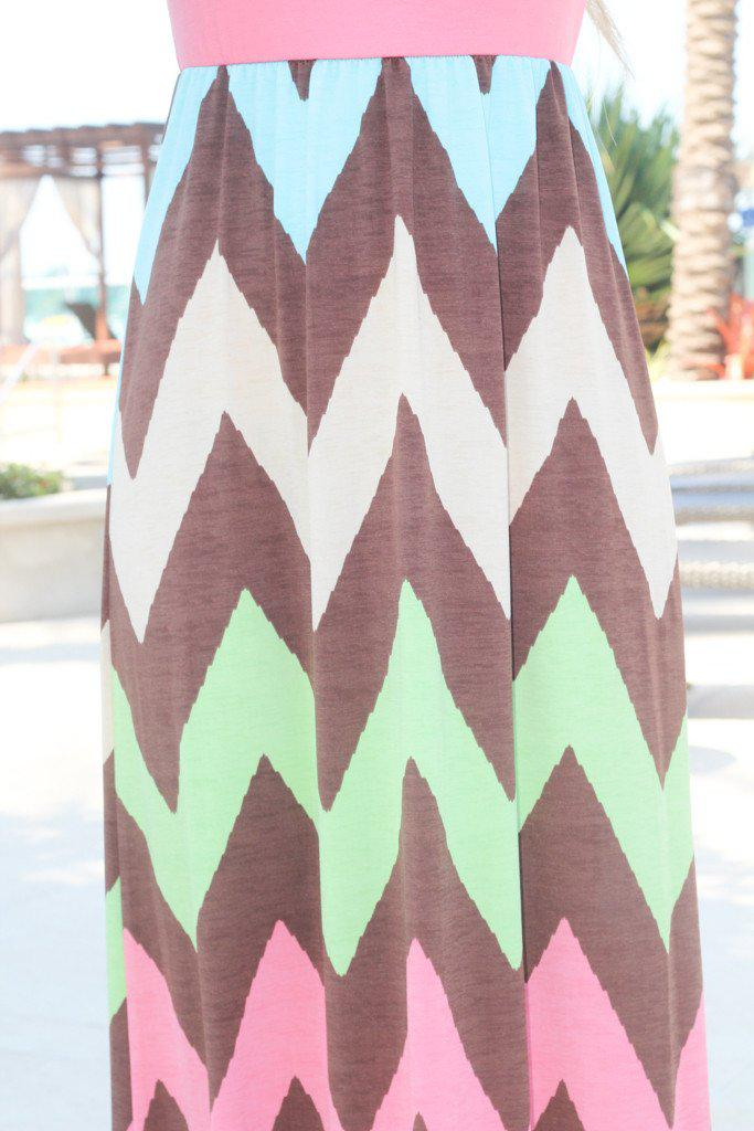 Coral Top Chevron Maxi Dress