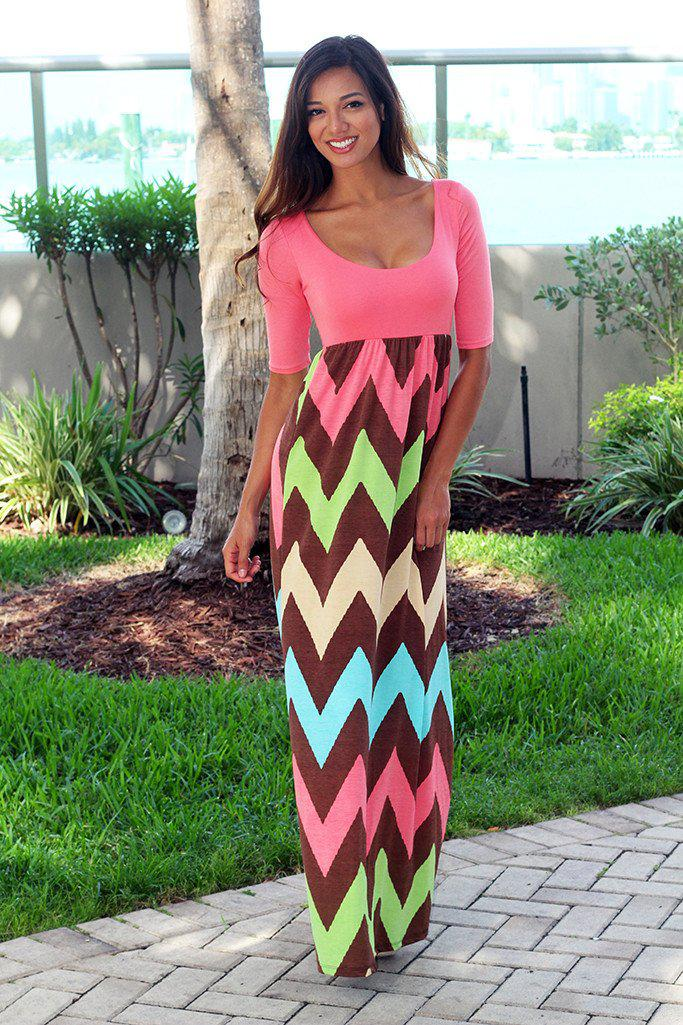 Coral Chevron Maxi Dress with 3/4 Sleeves