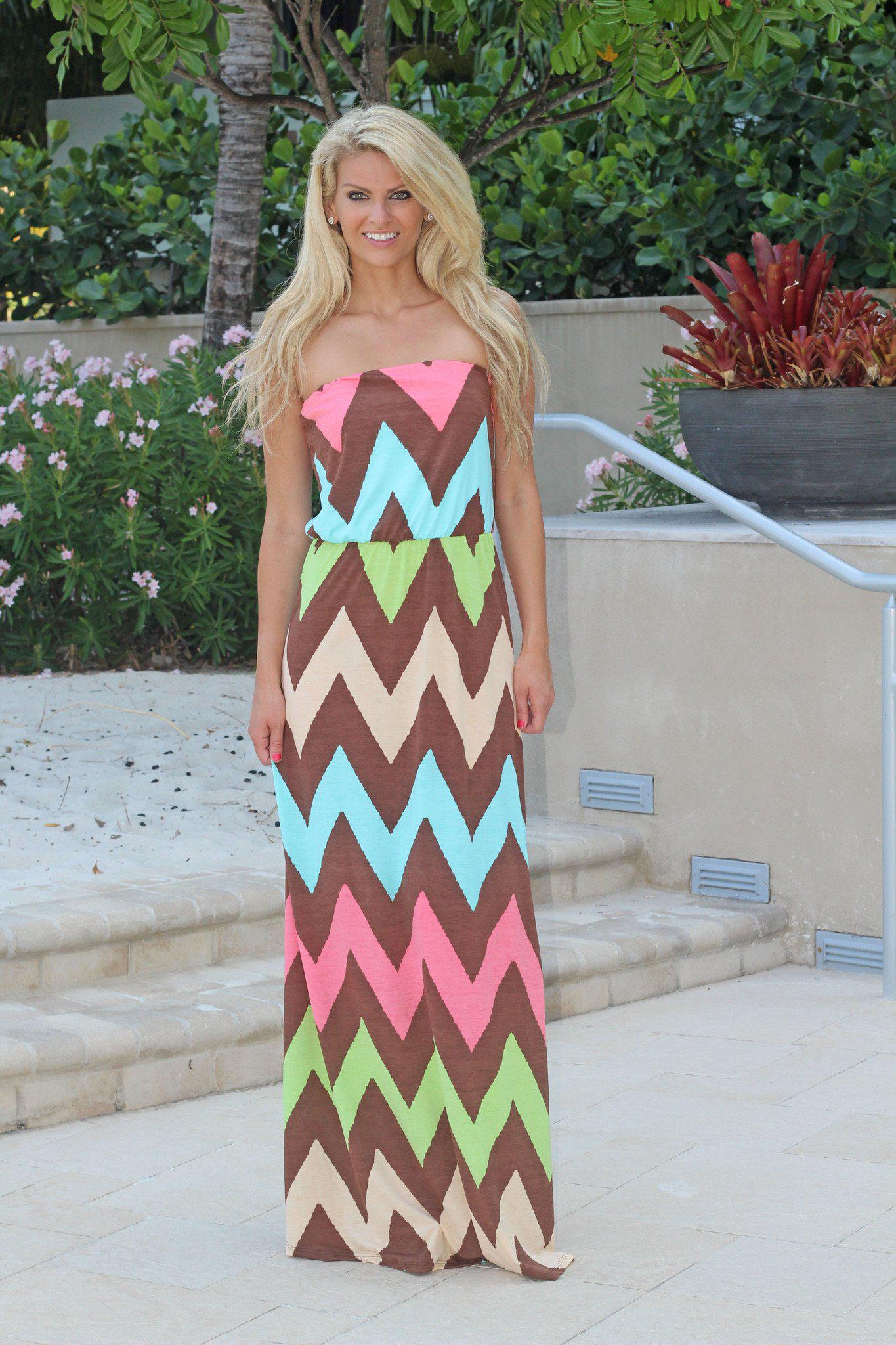 Coral Strapless Chevron Maxi Dress