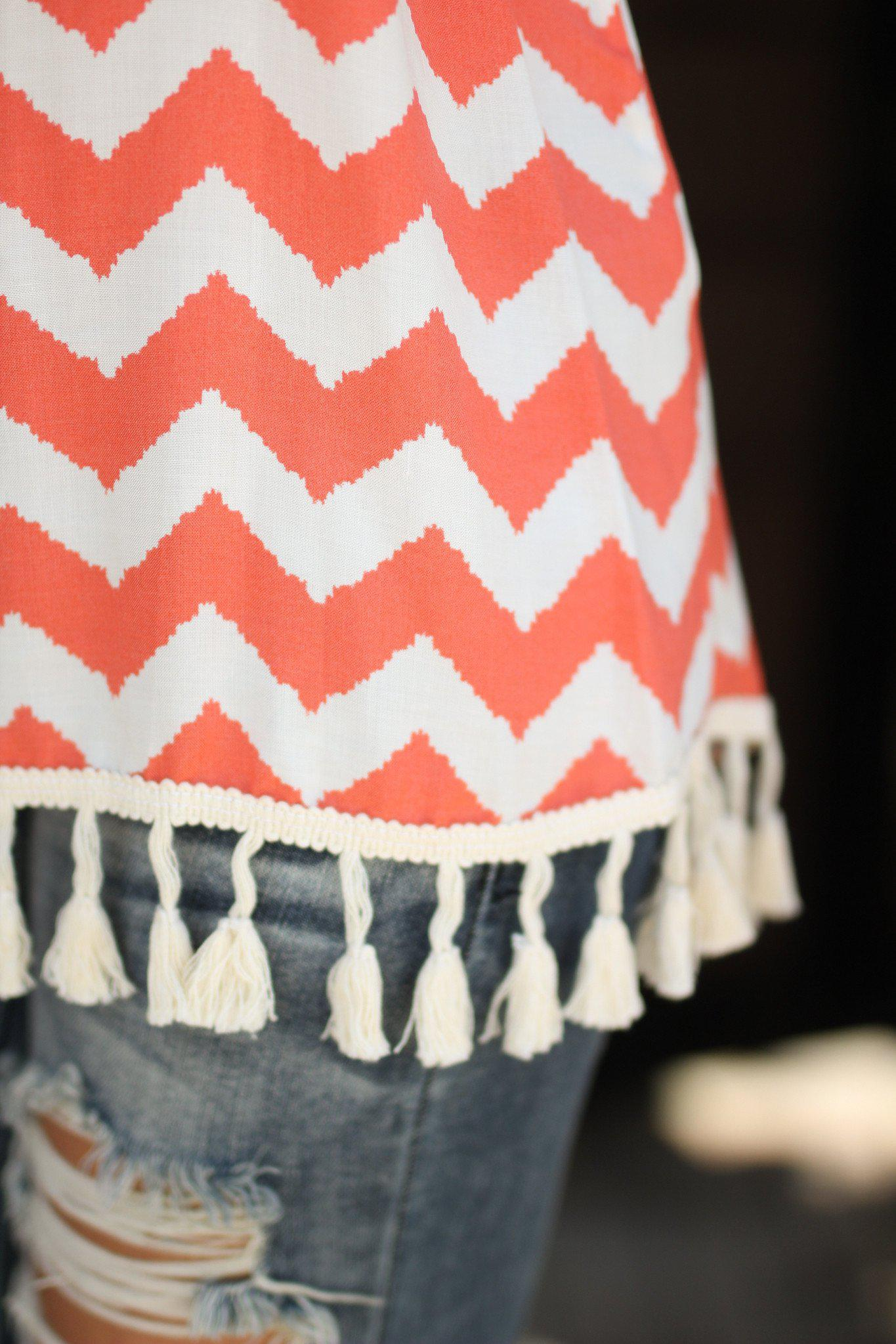 Coral Chevron Tank Top with Tassels