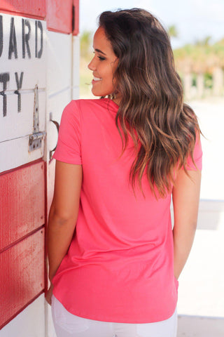 Coral Criss Cross Top with Short Sleeves