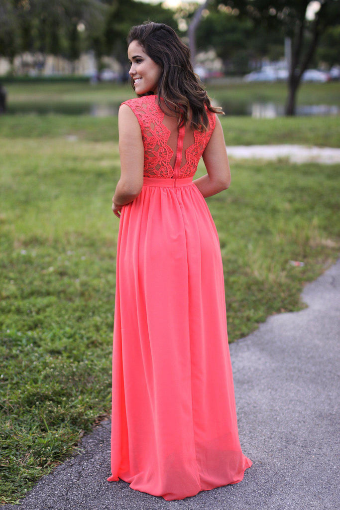 coral tulle back dress