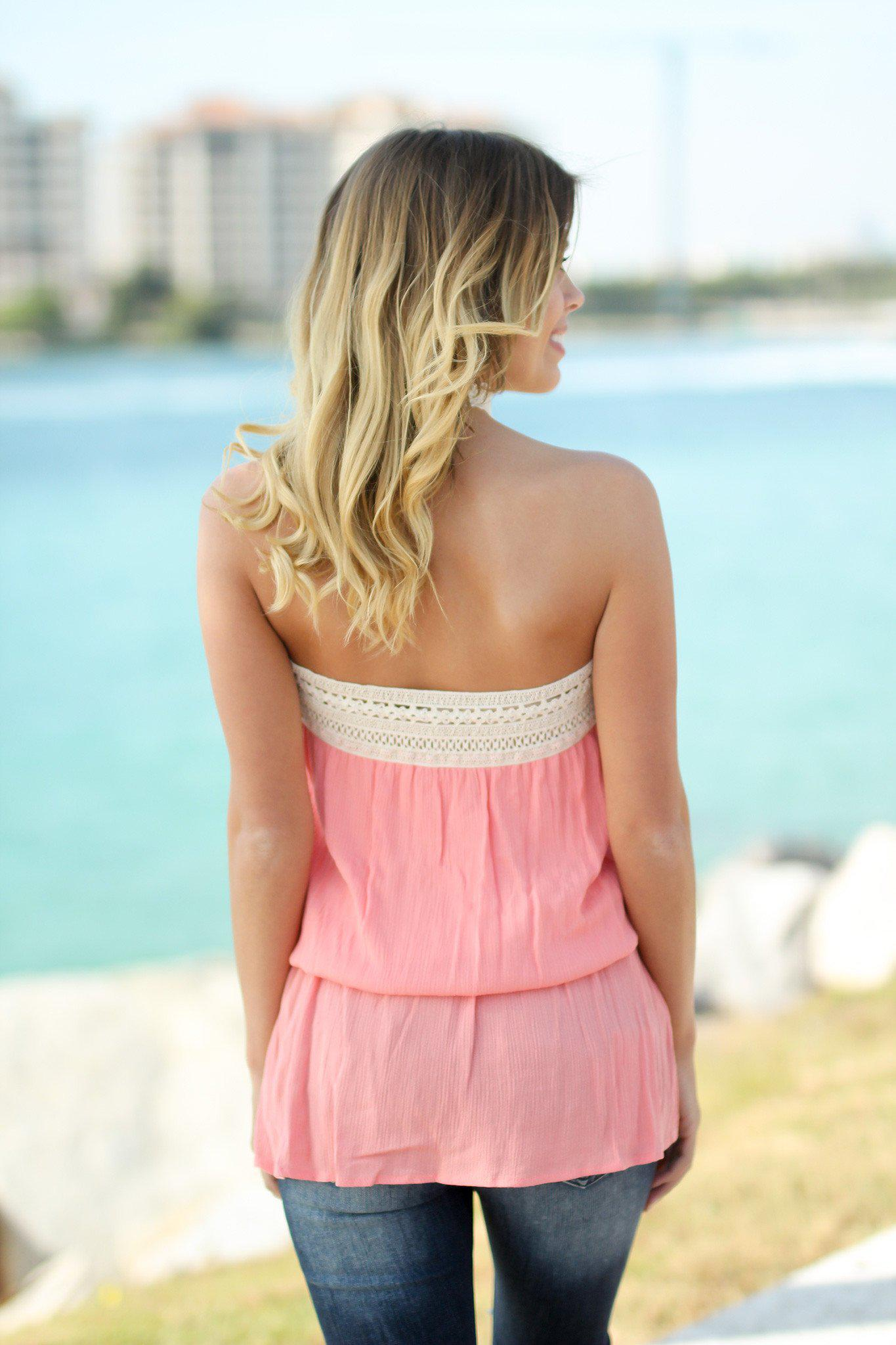 Coral Crochet Trimmed Strapless Top