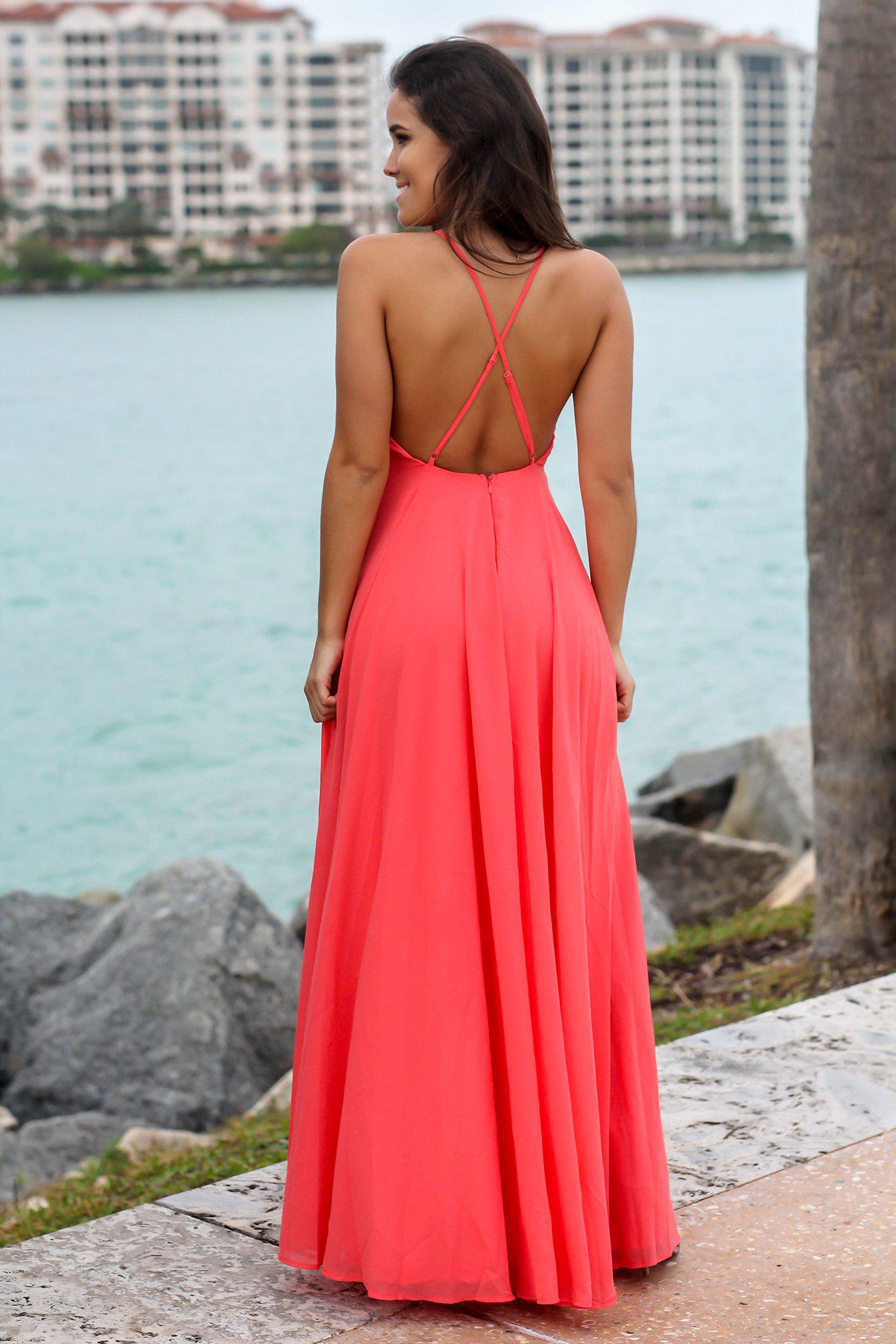 Coral Dress with Criss Cross Back