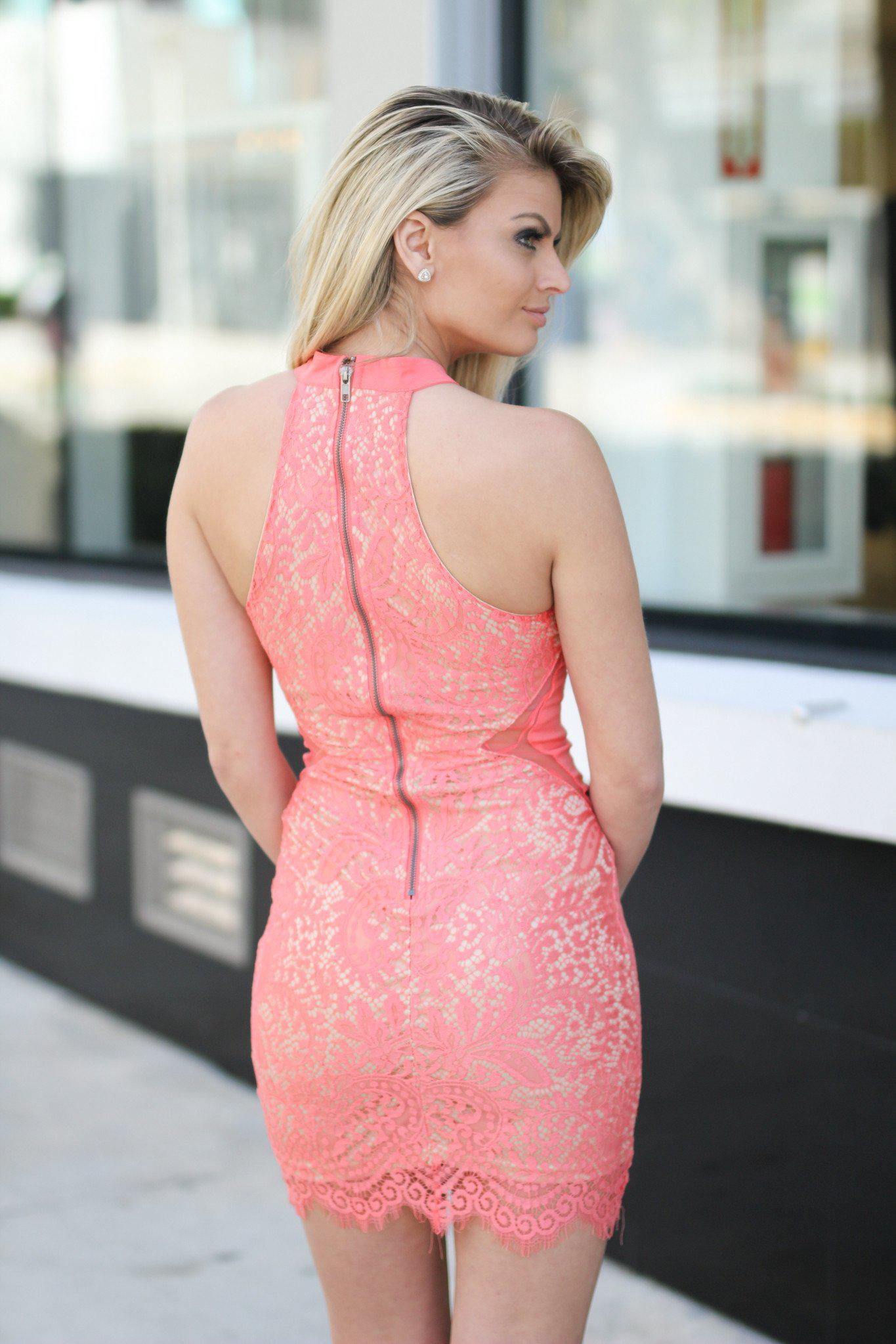 Coral High Neck Lace Short Dress