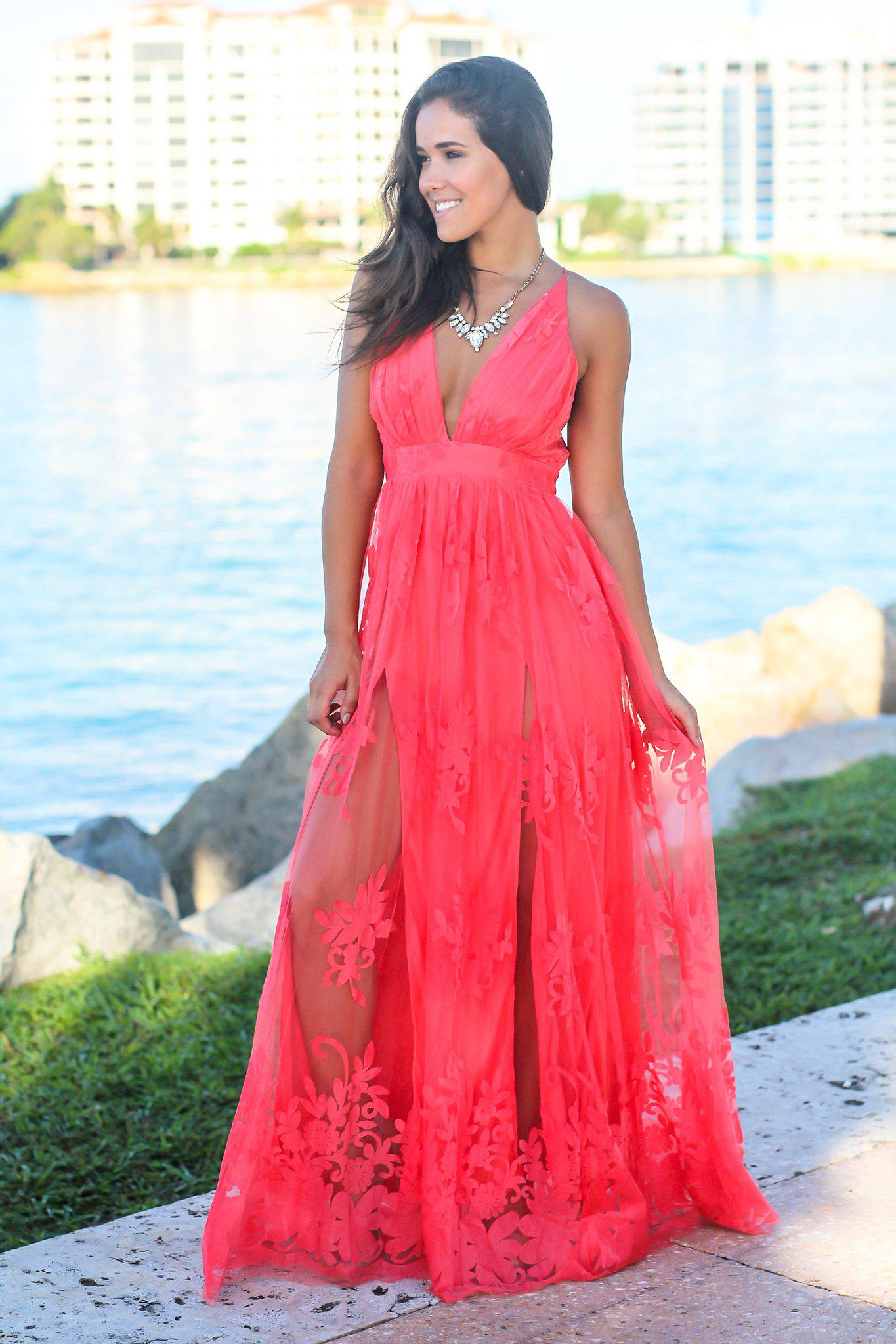 Coral Floral Tulle Maxi Dress with Criss Cross Back