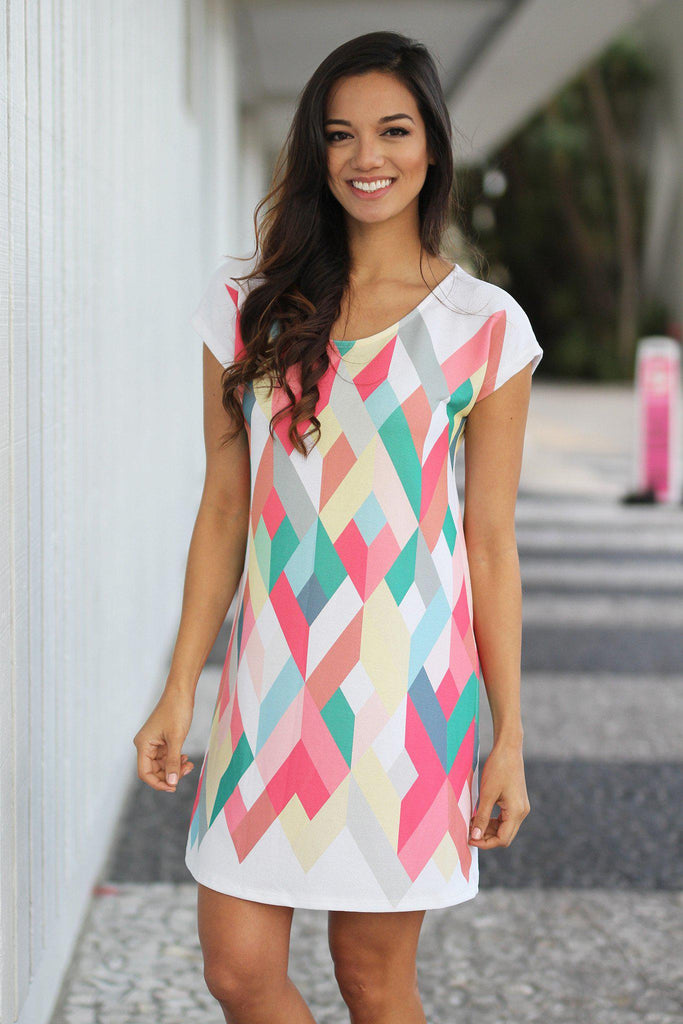 coral geometric short dress