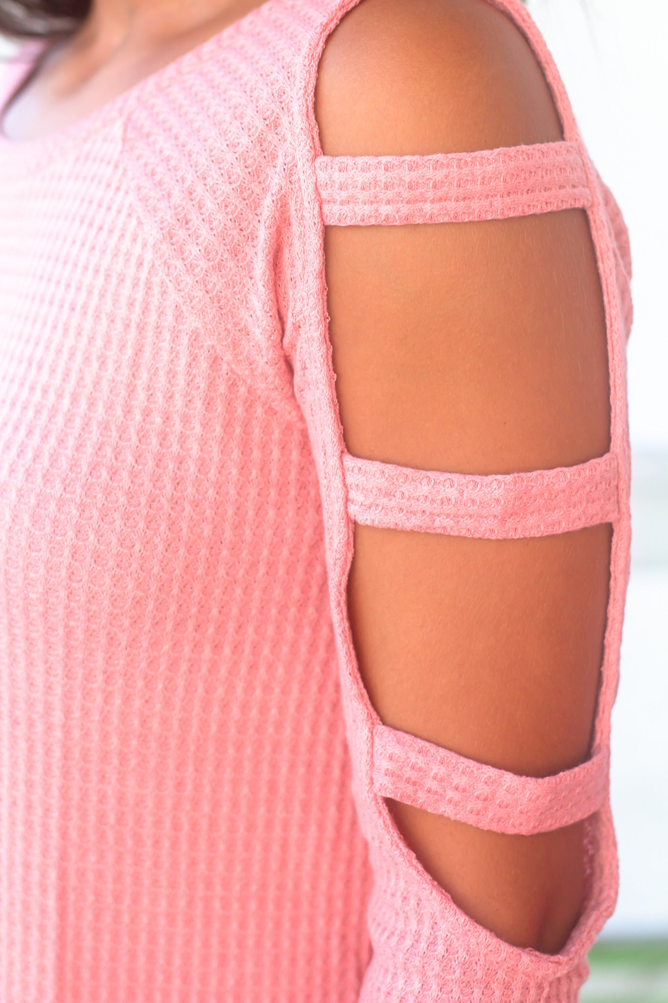 Coral Knit Top with Cut Out Sleeve Detail