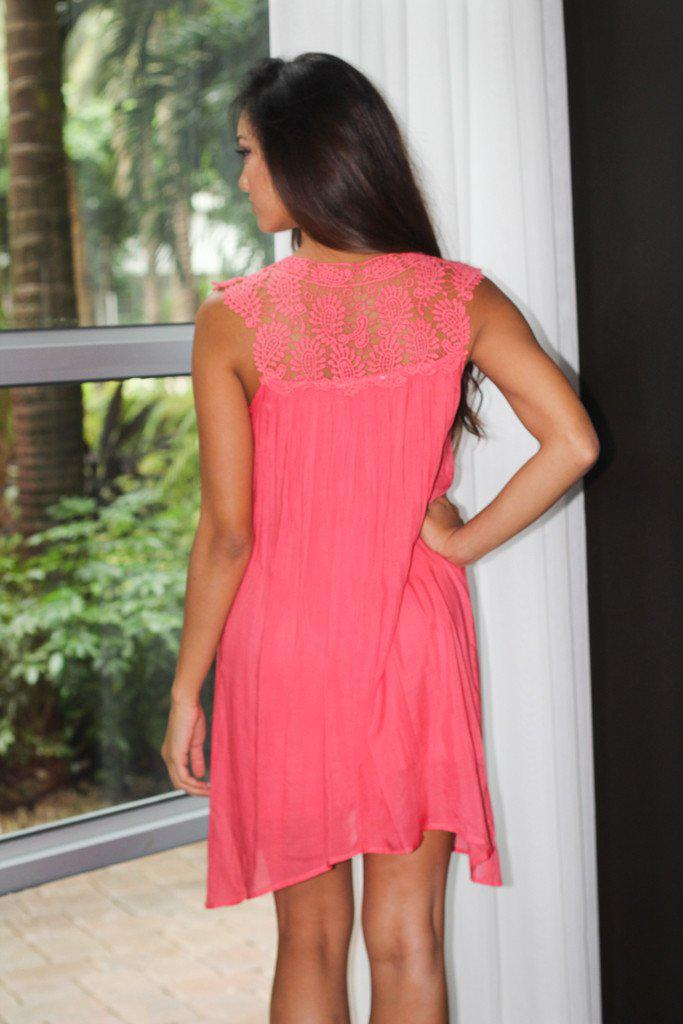Coral Crochet Short Dress