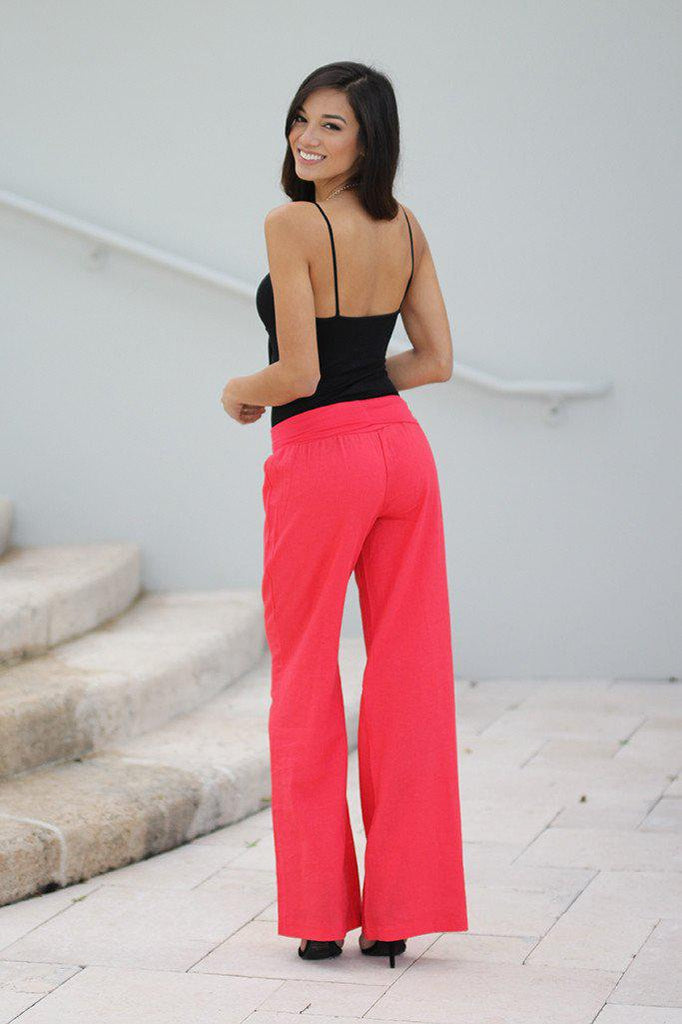 coral fashion pants