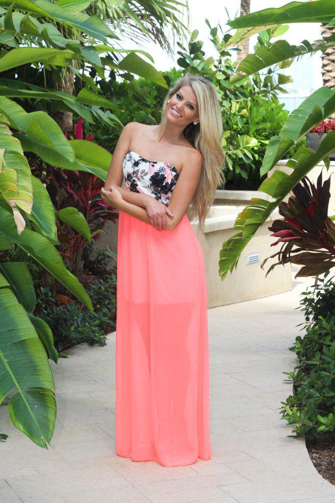 Coral Maxi Dress With Floral Top