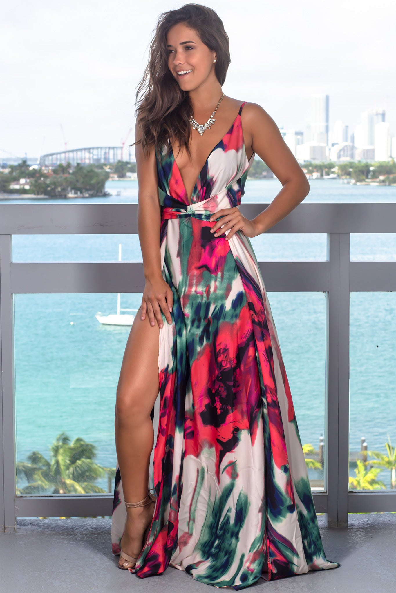 Coral Marble Maxi Dress