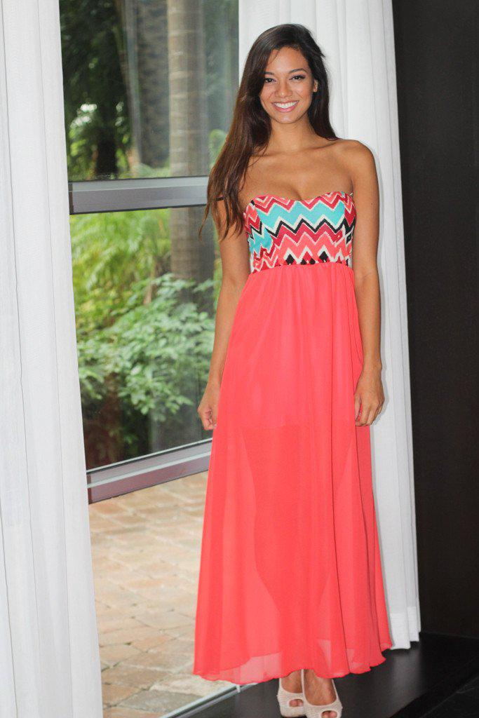 Coral Maxi Dress With Printed Top