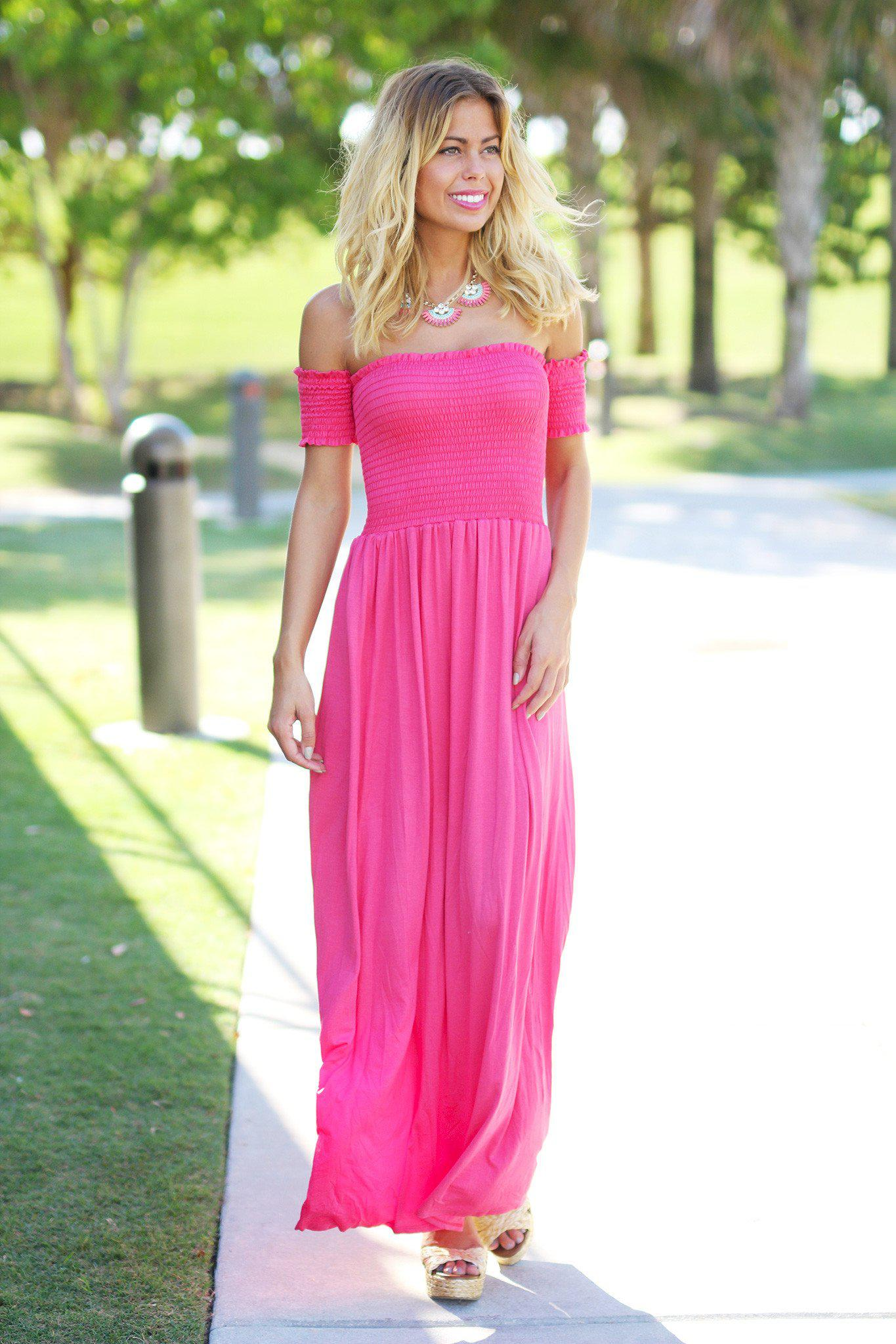 Fuchsia Off Shoulder Maxi Dress