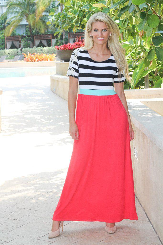Coral Maxi Dress with Crochet Sleeves