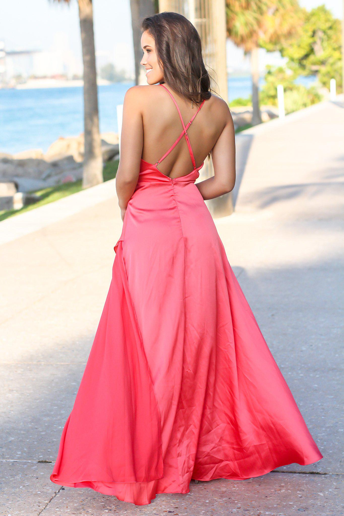 Coral Maxi Dress with Draped Top and Criss Cross Back