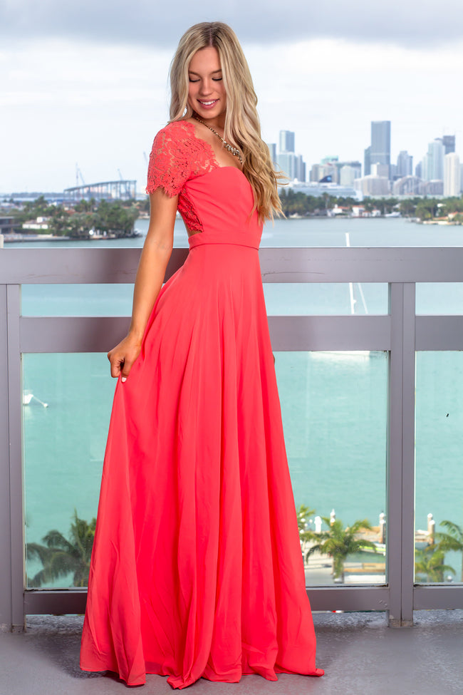 Coral Maxi Dress with Open Back and Lace Detail
