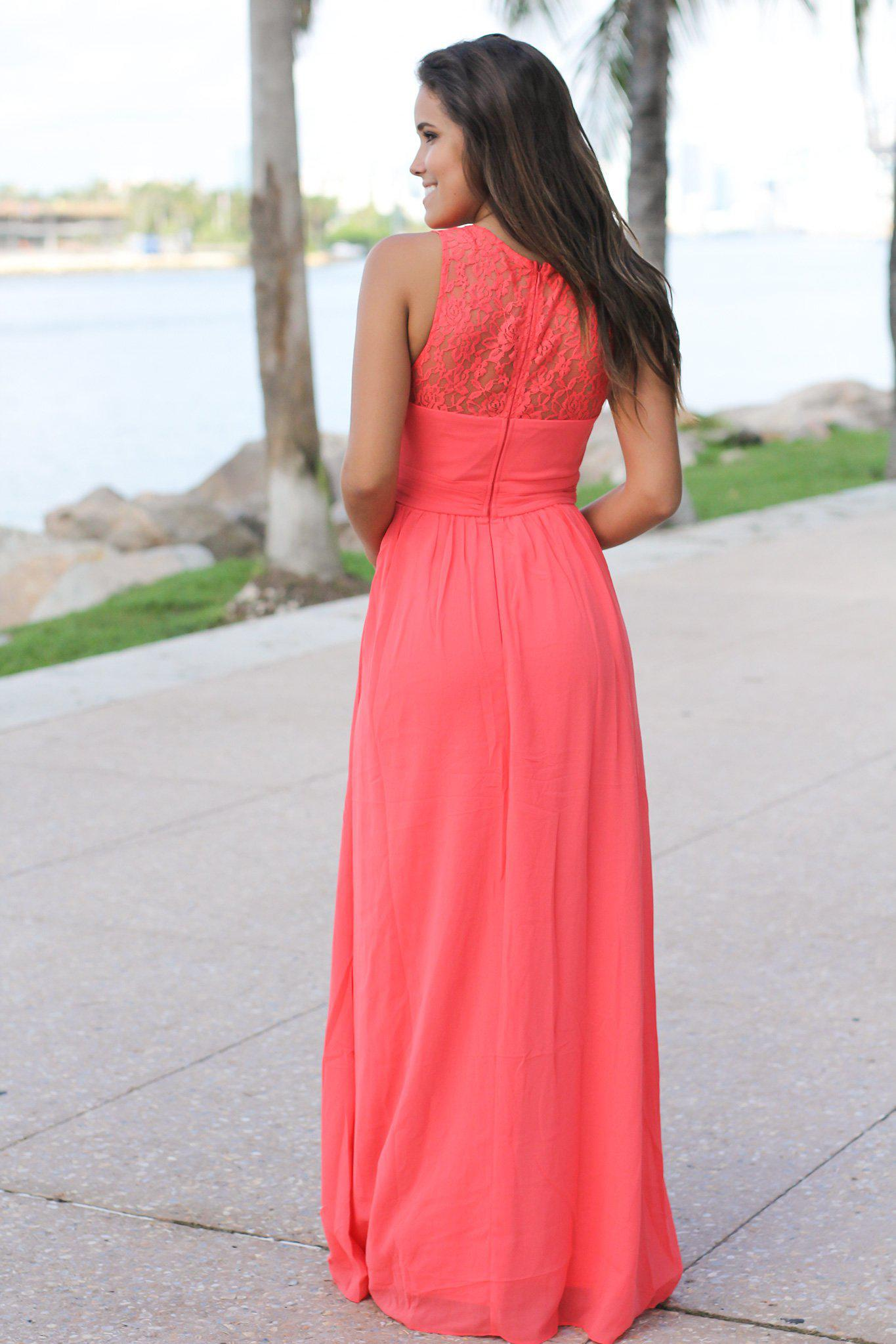 Coral Maxi Dress with Pleated Lace Top