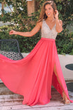 Coral Maxi Dress with Silver Jewels