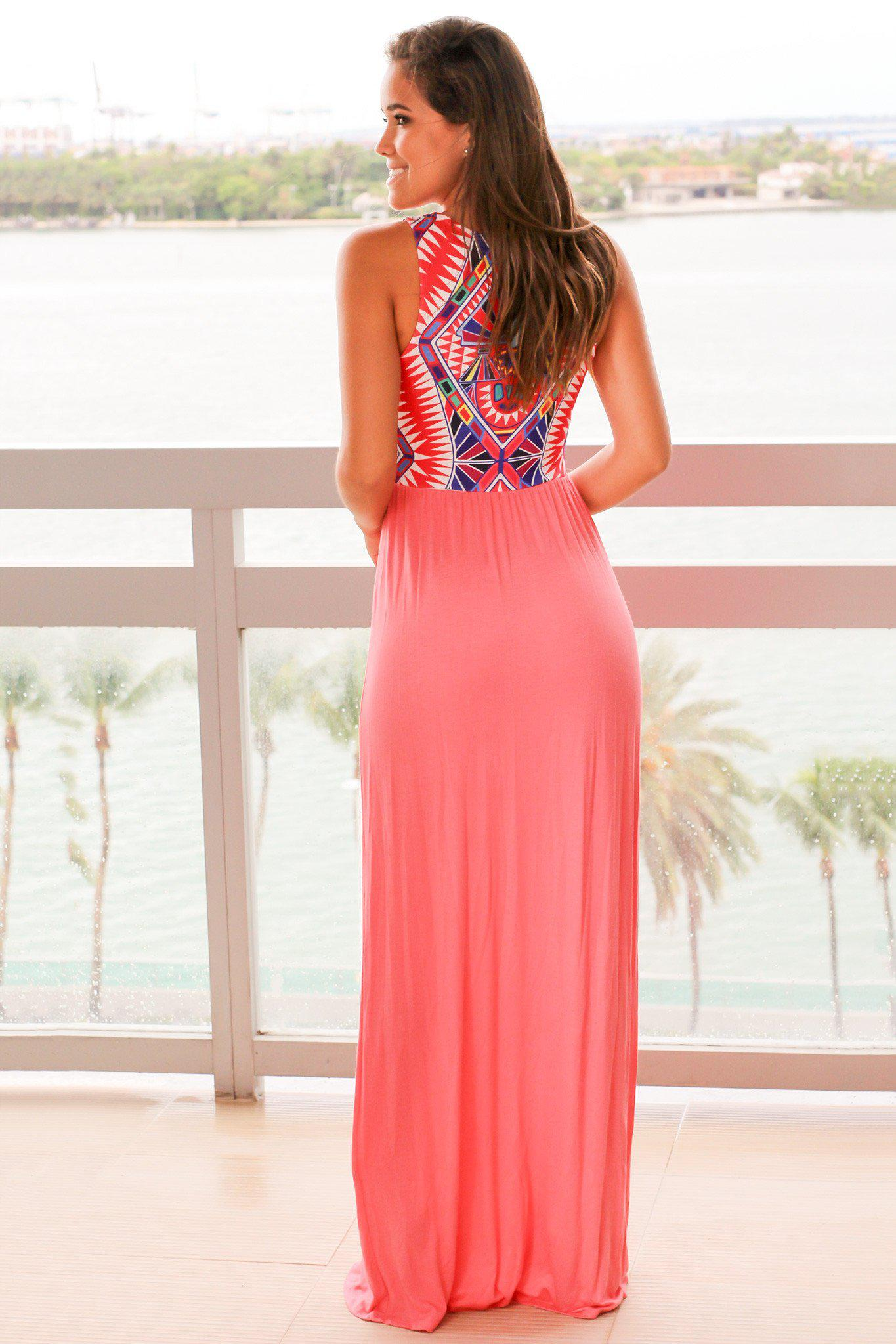 Coral Maxi Dress with Tribal Printed Top