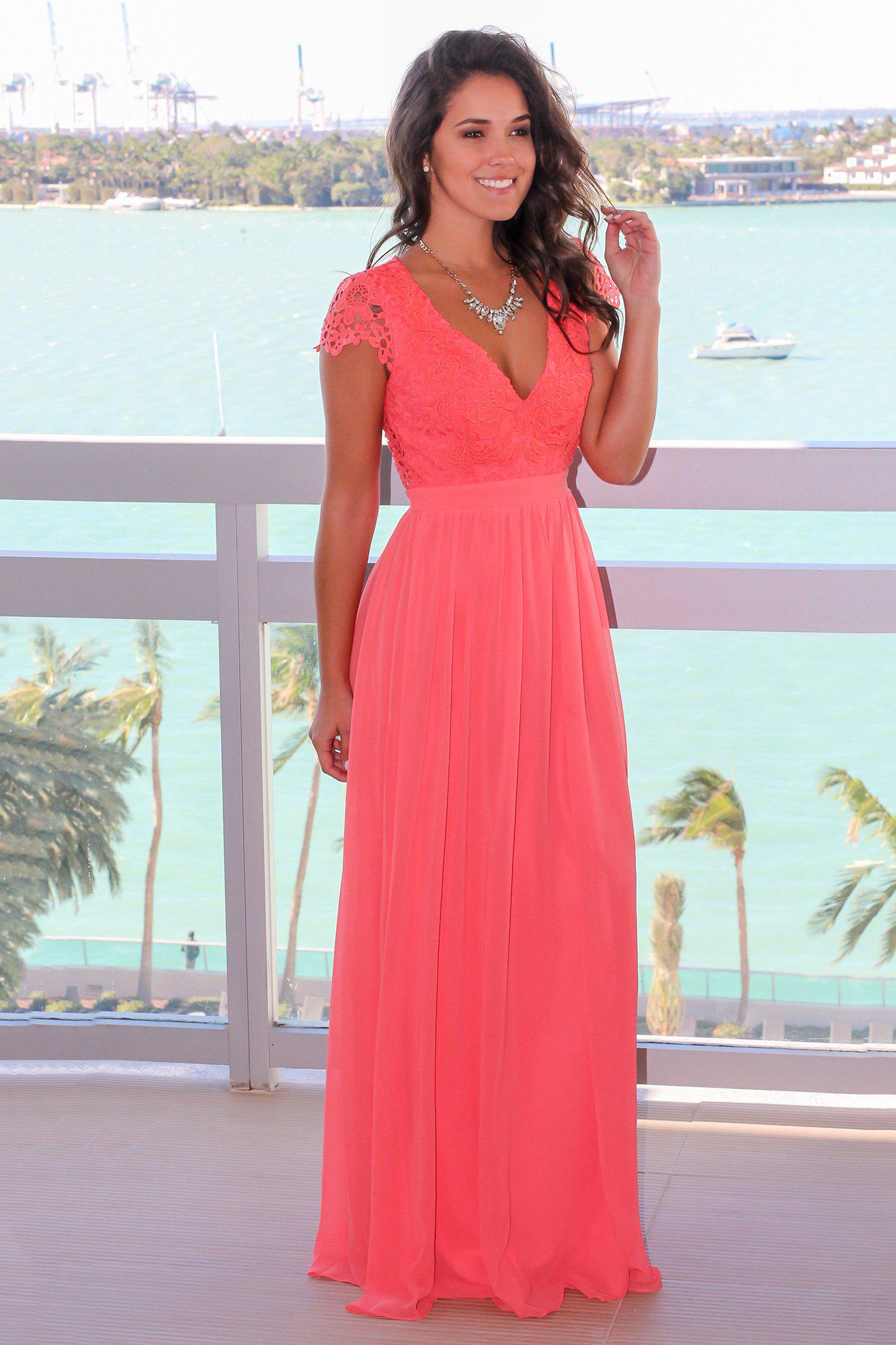 3d41f3b296 Coral Crochet Top Maxi Dress with Open Back | Maxi Dresses – Saved by the  Dress