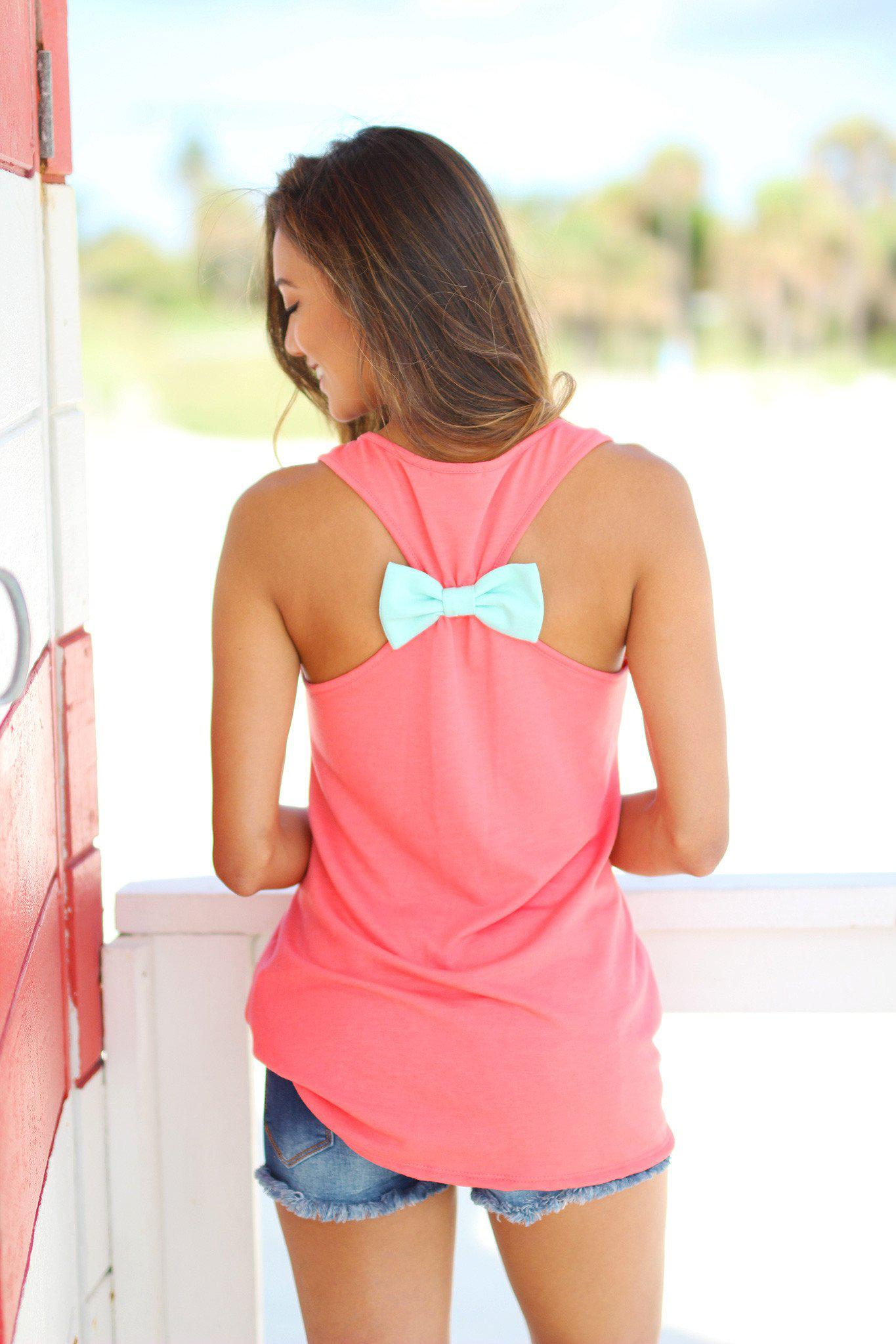 Coral Pineapple Tank Top with Back Bow