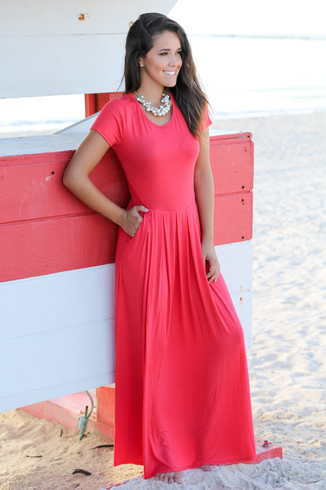 Coral Pleated Maxi Dress with Pockets