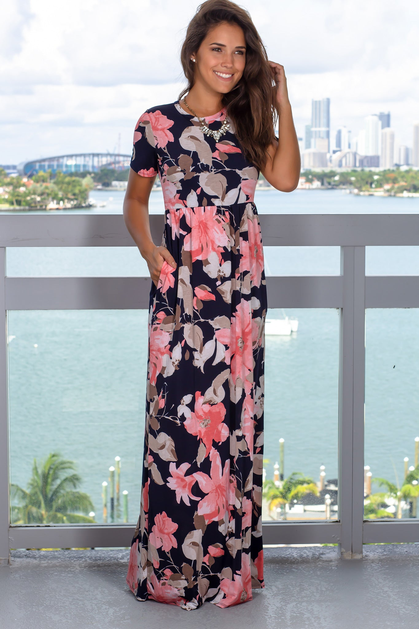 Coral Printed Maxi Dress with Short Sleeves