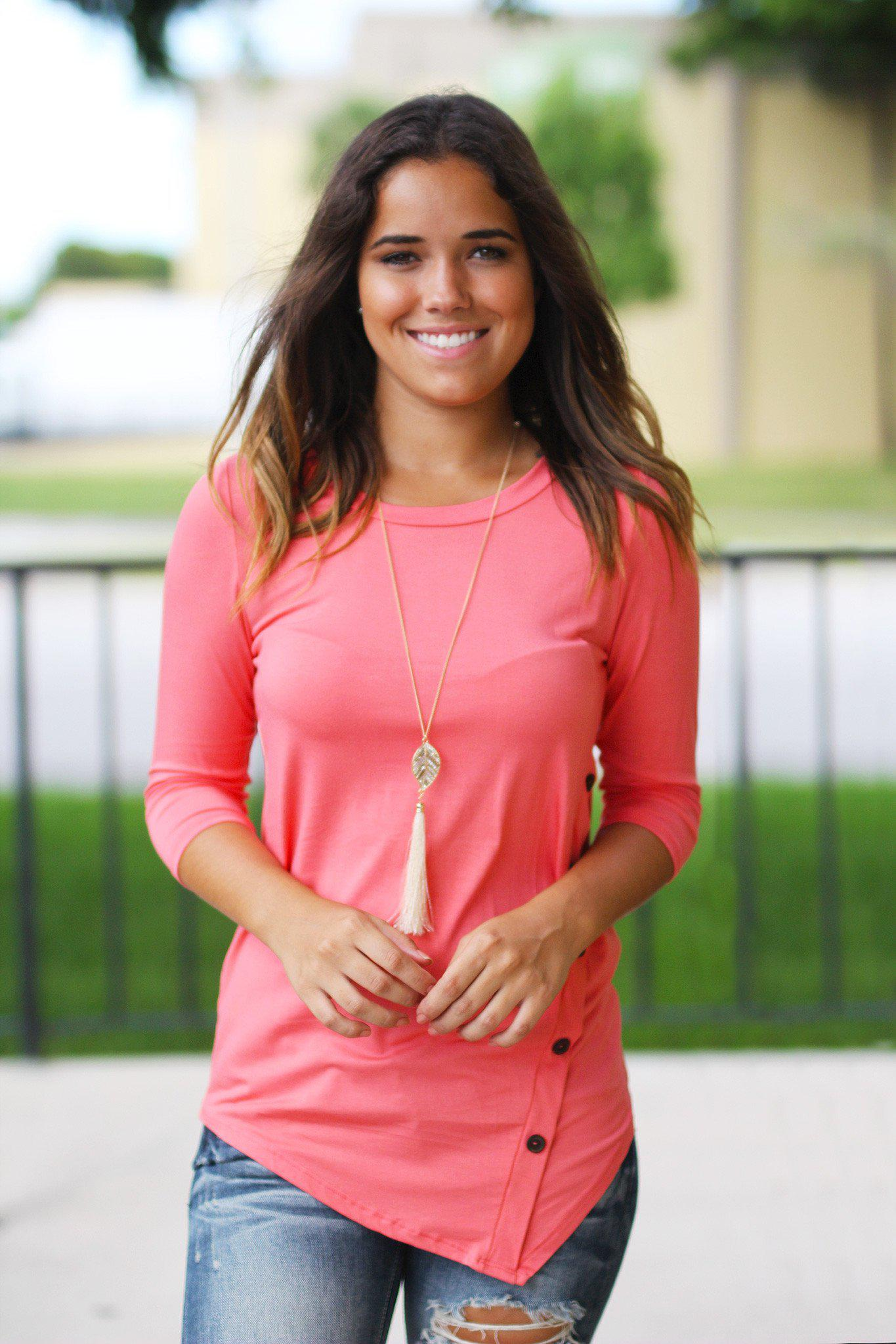 Coral Top With ¾ Sleeves And Buttons