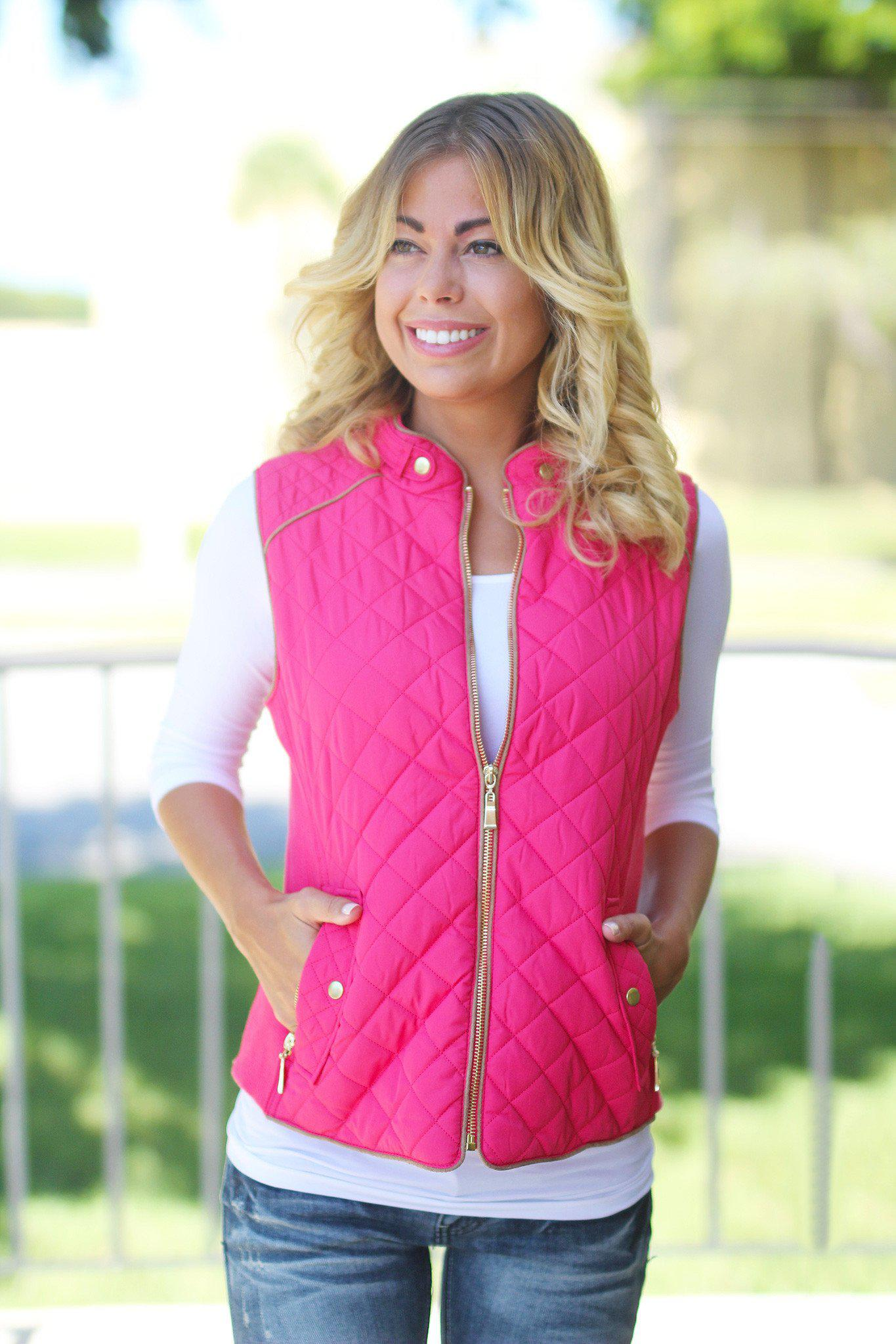 Coral Quilted Vest With Pockets