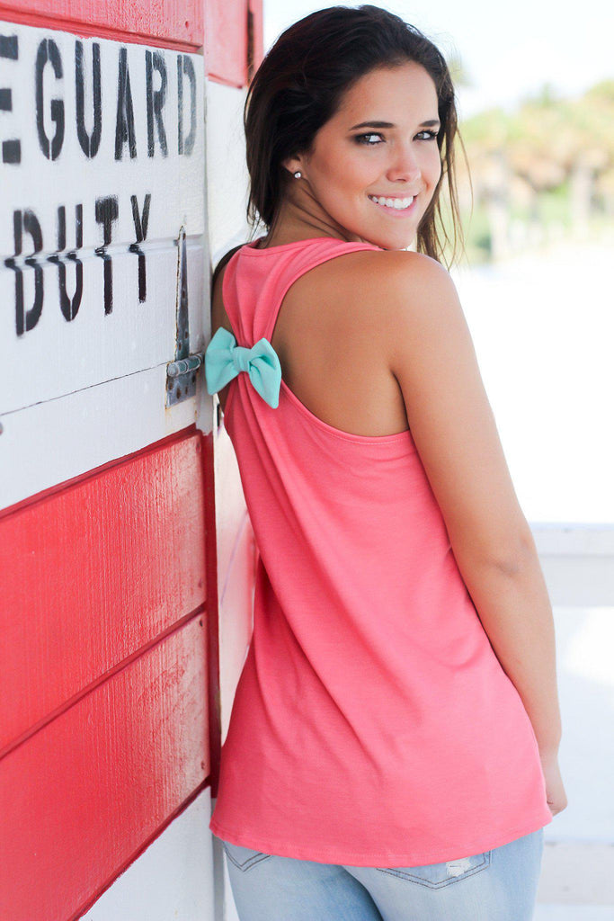 Coral Racerback Anchor Tank Top