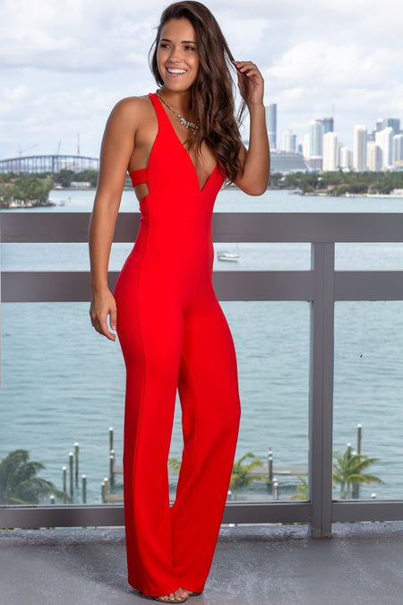 Coral Red V-Neck Jumpsuit