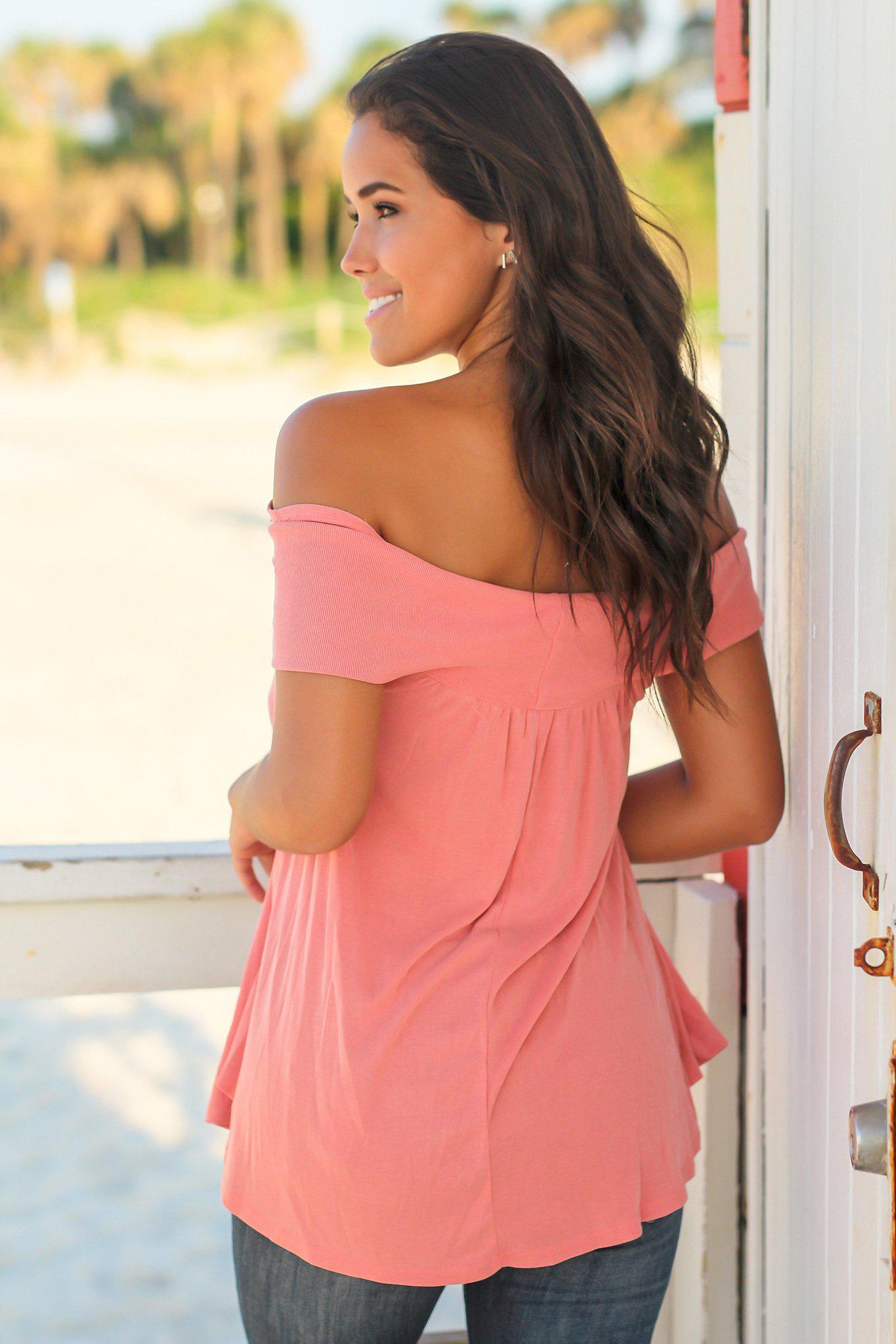 Coral Off Shoulder Top with Criss Cross Front
