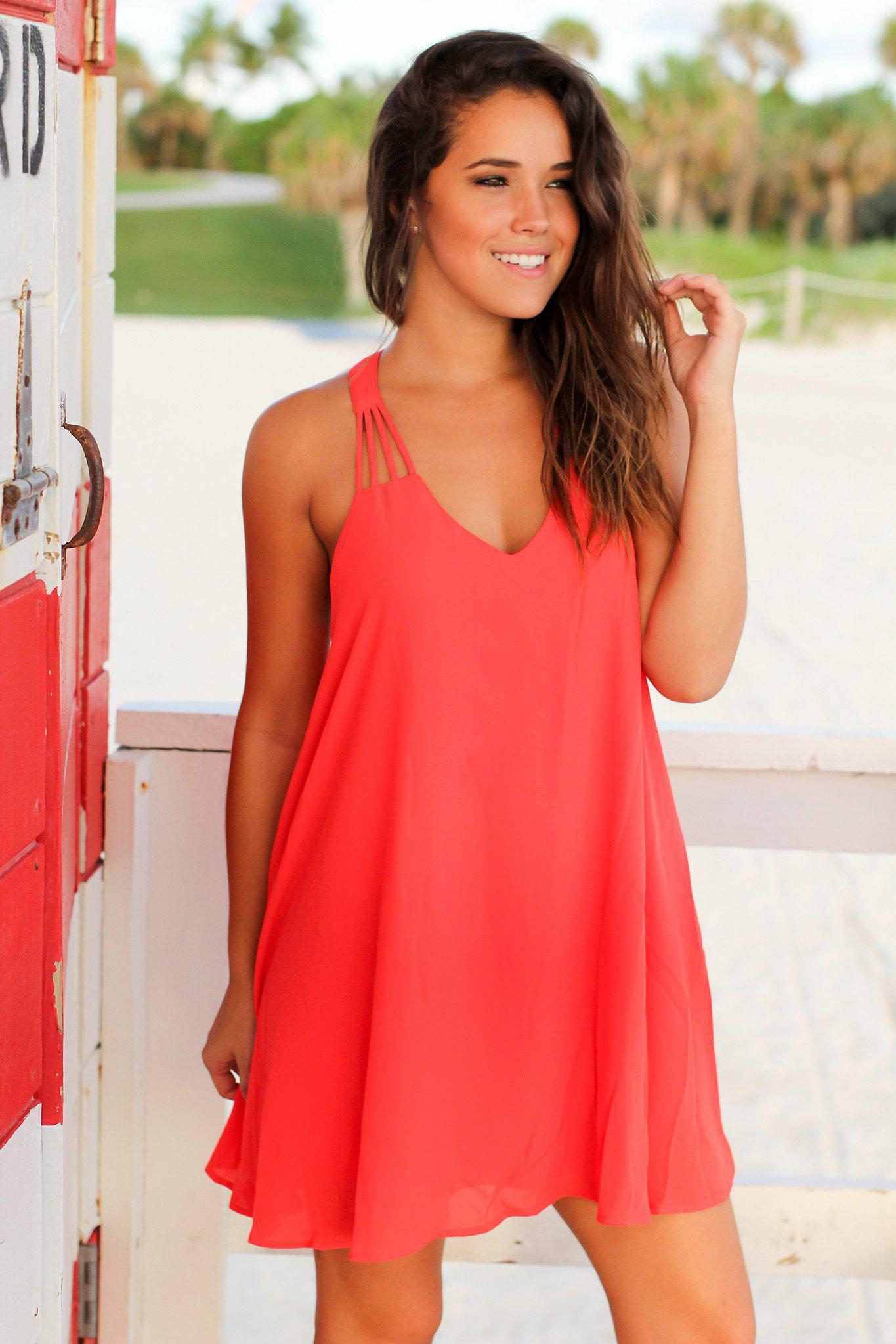 Coral Strappy Short Dress