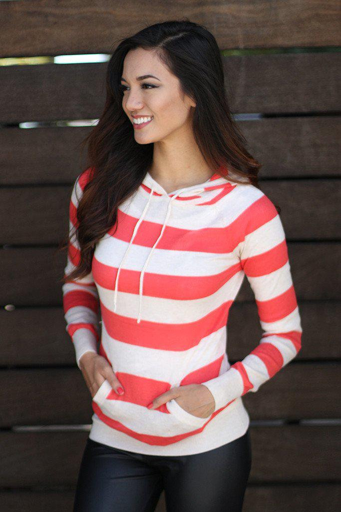 Coral Striped Knit Hoodie