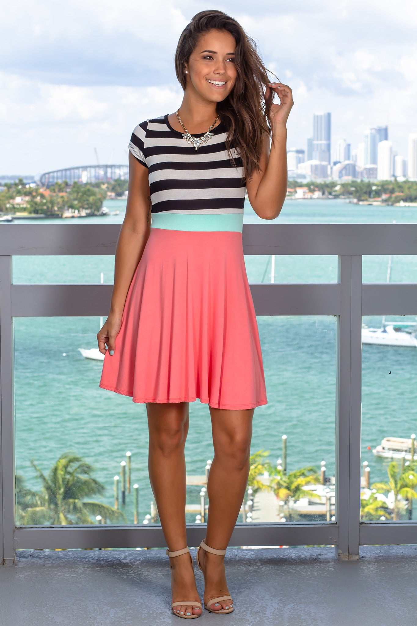 Coral Striped Short Dress