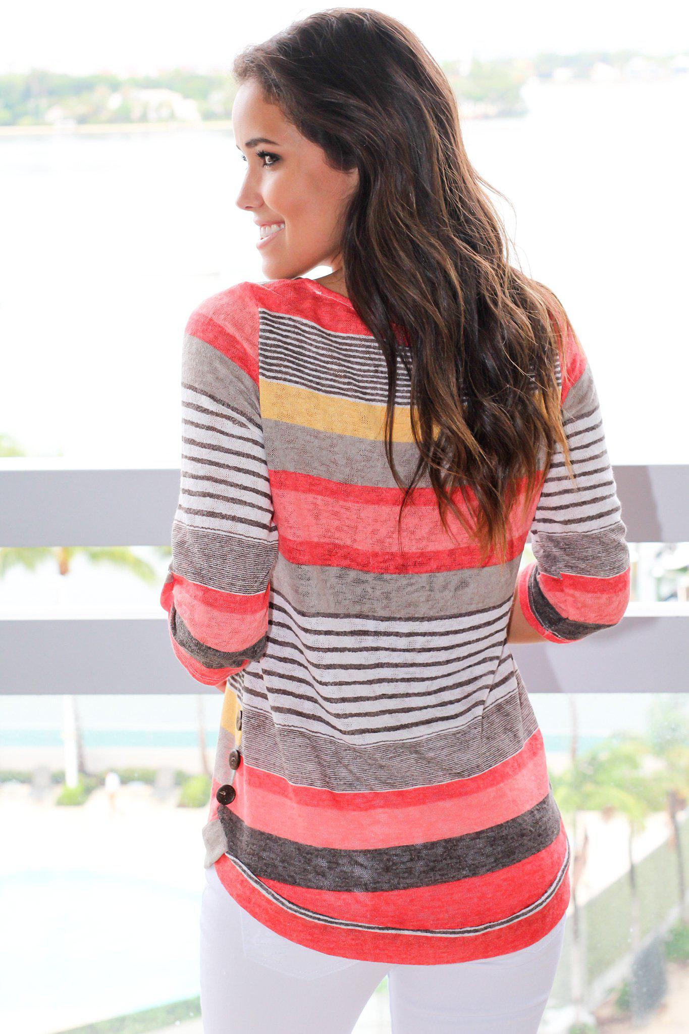 Coral Striped Top With Buttons