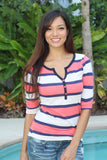 Coral And Navy Striped Top
