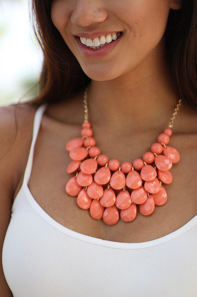 Coral Teardrop Beaded Necklace