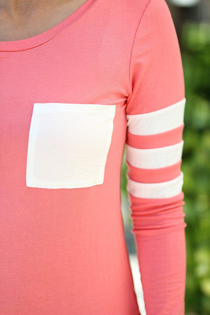 Light Coral Top with Pocket