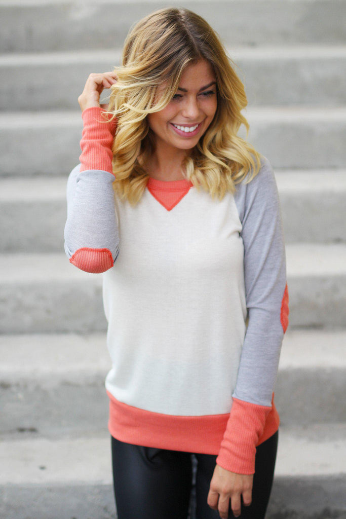 Coral and Gray Top with Elbow Patches